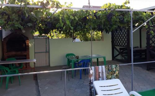 зона барбекю с беседкой из лоз виноградников