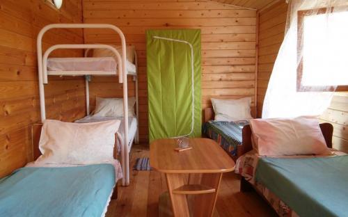 Домик, 5-6 местный эко номер, отдельный вход, тв, сплит система. Напротив свой столик, стулья, мангал. Санузел напротив домика